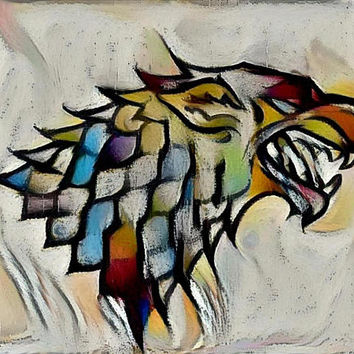 Game of Thrones Original Oil Painting - Direwolf Banner - 12x12 to 24x36 painting/poster/canvas; great gift idea