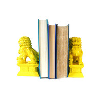foo dogs, bookends, mid century modern, yellow home decor, asian, bookend sets