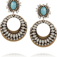 DANNIJO Sade oxidized-brass, turquoise and crystal hoop earrings – 60% at THE OUTNET.COM