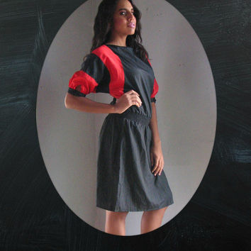 80s PLUS size Dress l xl - dolman puff sleeve COLORBLOCK Red Black - cocktail work play day night new wave 1980 casual party - large xlarge