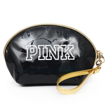 Victoria Pink New Women's Handbags Fashion Printing Letter Makeup Bags Reflective Shell Shape Storage Bag Black