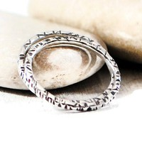 Sterling Silver Square Skinny Textured Ring.