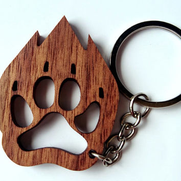 Wooden Animal Footprint Keychain, Walnut Wood, Animal Keychain, Environmental Friendly Green materials