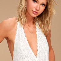 Free People Avery White Lace Bodysuit