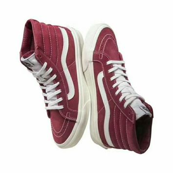 VANS SK8-Hi High Quality Fashion Flats Ankle Boots Sneakers Sport Shoes Wine red I-CSXY