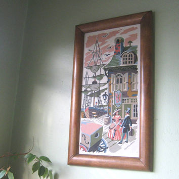 Wood Frame Romantic Paint By Numbers Picture - Kitsch Couple PBN Picture; 1800s Seaport - Narrow Wall Decor - Newlywed/Housewarming Gift