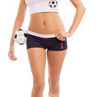 White Cropped T-shirt and Jersey Shorts Soccer Costume