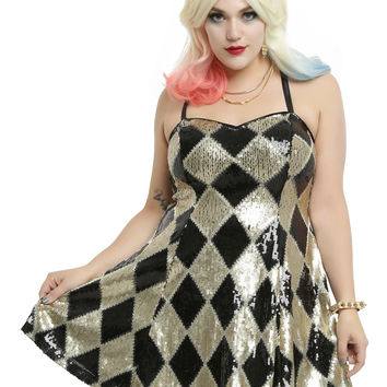 DC Comics Suicide Squad Harley Quinn Sequin Dress Plus Size
