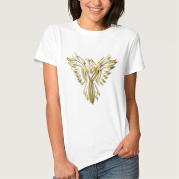 Rising Golden Phoenix Gold Flames With Shadows T-Shirt
