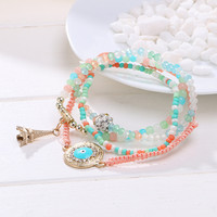 New Summer Style Fashion Ethnic Friendship Bracelet Cahrm Tower Pendant Colorful Beads Bracelets Jewelry For Women  multicolor
