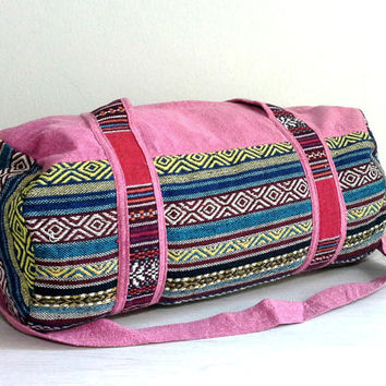 Women's Pink Duffle Bag Cross-body, Aztec weekender bag, hippie travel bag, hipster overnight bag, Cotton Sports Gym bag, Small Size