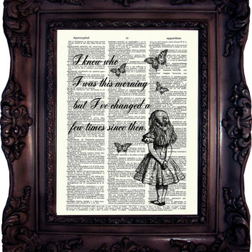 ALICE in Wonderland Decor Alice in Wonderland Print  Vintage Alice Wall Art  Chesire Cat  White Rabbit Alice Quote Print Mad Hatter C:556