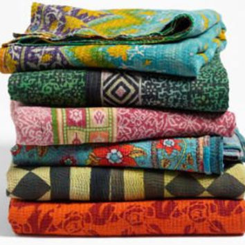 Vintage Kantha Quilt Blanket Throw Made With Vintage Cotton Saree Wholesale Lot 5pc