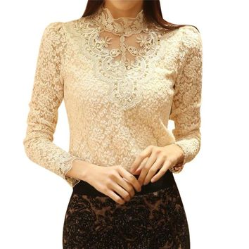 Fashion Long Sleeve turtleneck Casual Lace T-Shirts Women Long-sleeve T Shirts For Woman Female Lace Top Tee