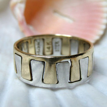14k and Sterling Silver Ed Levin Puzzle Ring 3.34g Size 6
