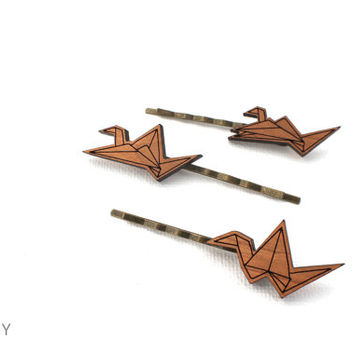 Origami Crane Hair Pin Set - Laser Cut Laser Engraved Wooden Hair Accessories