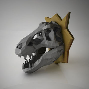 DIY PAPER SCULPTURES Exclusive - T-Rex Dinosaur Skull Trophy