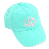 Seafoam Customized Cotton Cap.  Choices of Monograms, Initials or Text.  Many Colors and Fonts Available.