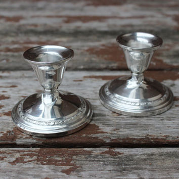 Small Vintage Pair of Two (2) Sterling American Silver Co. Weighted Candlesticks  | DIY Wedding Decor & Housewarming Gifts