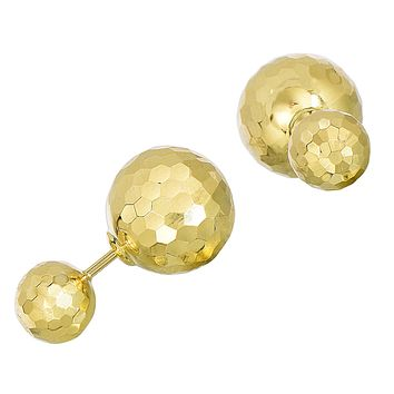 14k Yellow Hammered Finish Gold Front And Back Double Ball Stud Earrings