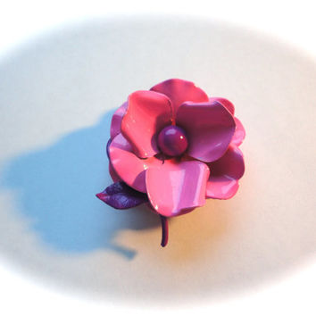 Easter Flower Pin Enamel Flower Pin Hot Pink and Purple Brooch