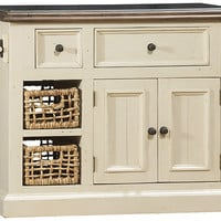 5465 Tuscan Retreat ® Medium Granite Top Kitchen Island with 2 (Two) Baskets - Country White Finish - Free Shipping!