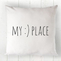 My Happy Place Pillow Cover - Our Happy Place, Fall Pillow, Autumn Pillow, White Pillow, Farmhouse Pillow, 16 x 16, 18 x 18, 20 x 20