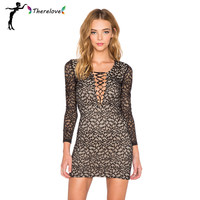 Plus size women mini dress 2016 spring summer style long sleeve bodycon dresses high quality deep v neck sexy night club dress