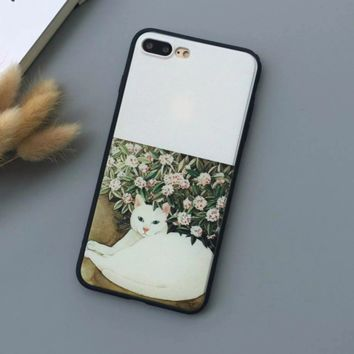 The lazy little white cat Phone Case Cover for Apple iPhone 7 7 Plus 5S 5 SE 6 6S 6 Plus 6S Plus + Nice gift box! LJ161007-005