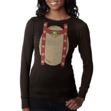 Reindeer With Bells Costume Juniors Long Sleeve Thermal