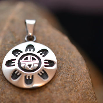 Bold Mayan Carved Sterling Silver Disc Pendant