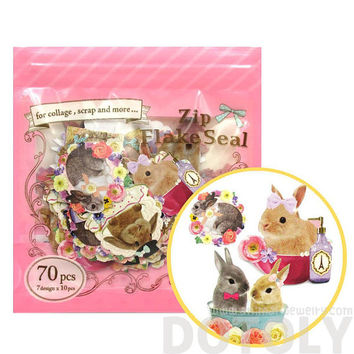 Realistic Bunny Rabbits Shaped Photo Sticker Flake Seals From Japan | 70 Pieces | Cute Animal Themed Scrapbook Supplies