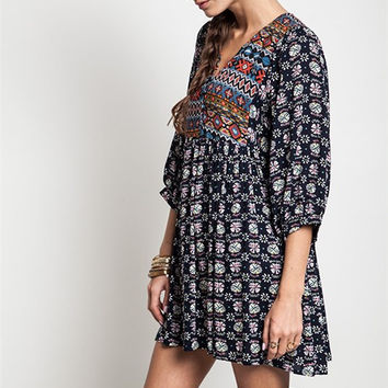 Boho Baby Doll Dress - Navy