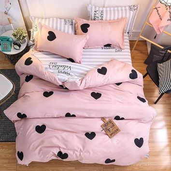 Home Textile Pink Girl Heart Bedding Set  3/4pcs Quilt Cover Queen Full King Size Children Cartoon Duvet Cover  Bedclothes