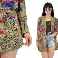 vintage 90s floral blazer jacket CUTE rose button deep v jacket boho watercolor flower print slouchy Medium