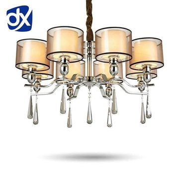 Modern Style Fabric Lampshade Crystal Chandeliers Living Room Chandelier Ceiling LED Chandelier Bedroom Lamp
