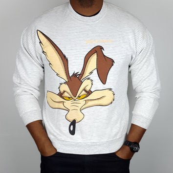 M L Vintage 90s Wile E. Coyote Looney Tunes Sweatshirt / Vintage Looney Tunes Crew Neck Sweatshirt / Road Runner Cartoon Shirt / 90s Apparel