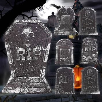 1 pcs Halloween Foam Tombstone Skeleton Tombstone Haunted House Stone Grisly Props Party Decor Yard Decor(Random Shipping) A30