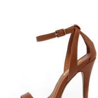 A Step Above Tan Ankle Strap Heels