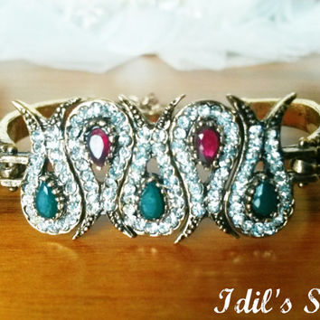 Turkish Ottoman Style Handmade Vintage Tulip Shaped Bronze Bracelet Encrusted With Emerald & Ruby Stones.