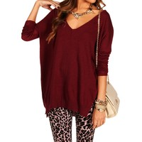Pre-Order: Burgundy Dolman Knit Sweater