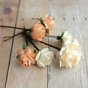 Peaches and Cream Flower Hair Pin, Woodland, peach cream, hair clip, Rustic. Wedding. Whimsical. bridesmaids, fall, autumn, hair accessories