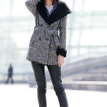 Grey Jacket Hooded Coat Double breasted Hoodie Wool Coat Winter Jacket - CF053