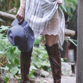 Steffy Knee High Lace Up Boots – Gypsy Outfitters - Boho Luxe Boutique