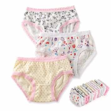 12 Pcs/Lot 100% Organic Cotton Girls Briefs Shorts Panties Baby Underwear High Quality Kids Briefs For Children's Clothes 2-8 y