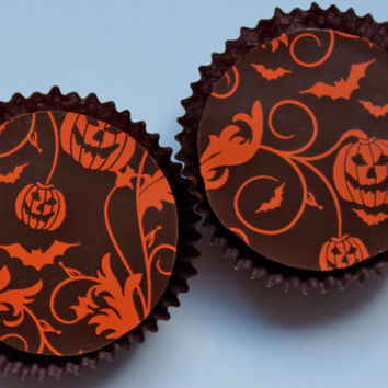 Designer HALLOWEEN NIGHT Chocolate Covered Oreos - Gift Favor Fall Halloween Autumn Party Spooky