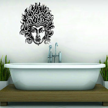 Medusa Gorgon Head with Snake Hair Housewares Wall Vinyl Decal Art Design Interior Modern Bedroom Bathroom Decor Sticker SV3968