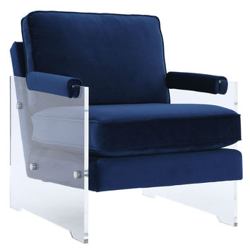 Serena Navy Velvet/Lucite Chair