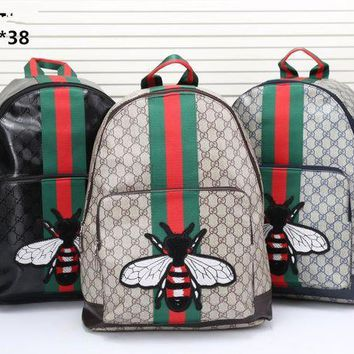 DCCKVQ8 Gucci' Unisex Casual Personality Fashion Classic Print Multicolor Stripe Snake Pattern Embroidery Backpack Large Capacity Double Shoulder Bag