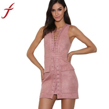 Womens Sexy Bandage Sleeveless Bodycon Dress Vintage Pink For Ladies Party Evening Mini Dress